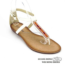 new style comfortable thong flat heel surrounded ankle strap ladies leather shoes