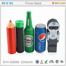 Diy PVC Silicone 2600 mah banco de potência original feita sob encomenda apropriado para o presente