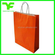 High quality orange pantone color printing kraft paper bag