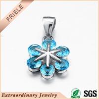 2015 new model blue cz stone flower shape pendant fashionable Sterling silver 925 jewelry pendant