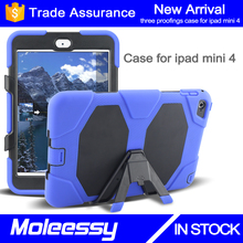 Heavy duty silicone+pc shockproof case cover for ipad mini 4 with kickstand
