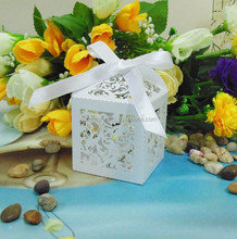 White Little Ivy Vine Laser Cut pearl paper wedding candy box chocolate favour box baby shower birthday new born gift box