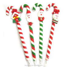 Christmas promotional Santa Claus and Snow man polymer clay pens with cane
