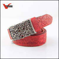 wine red carved classical belt with matal hollow out buckle