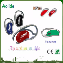 Flip Carabiner pen light can print LOGO Promotional LED Light With Pen And Carabiner