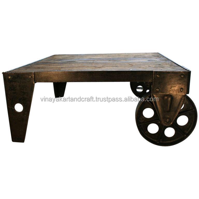 Vintage industriel roue chariot table basse antique - Table basse chariot industriel ...