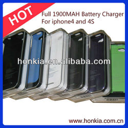 Hot Sales 1900mAh New Black External Backup Battery Charger for Iphone4/4S