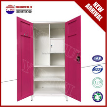 Indian style KD steel cupboard design / metal double door wardrobe/ cheap steel cupboard wardrobe price