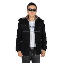 Casual Style Jacket Black Men Fur Coats with Fur Hood