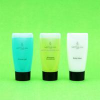 travel kit: hotel shampoo conditioner shower gel body lotion
