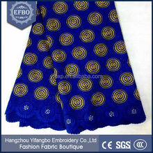 2015 China alibaba Hot selling circle designs heavy embroidered big swiss lace fabric with holes