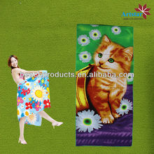 cheap goods from china of microfiber beach towel with cute cat printing