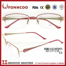 FONHCOO Alibaba China Supplier Stylish Designer Half Rim Alloy Metal Bridge Optical Frame With Acetate Temple
