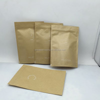Biodegradable brown kraft paper ziplock stand up bag with bottom gusset