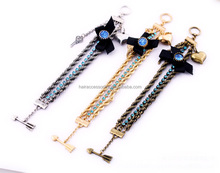 2014 fashion new trends braided metal bracelet with heart charms