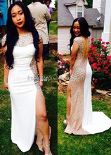 2015 Free Shipping White Sheath Women Evening Prom Dresses Charming Cap Sleeve Beaded Long Sweep Train Special Occassion Dress