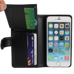5 Card Slots PU Leather Mobile Luxury Wallet Flip Leather Case for iPhone 6