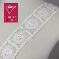 New products design circle pattern white cotton lace trim