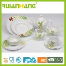 47 pcs green leaf porcelain coupe dinner set, latest dinner set with popular design