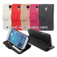 Stand wallet Litchi grain leather case for samsung galaxy S4 i9500 with 3 card