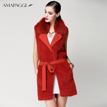 Hot sale knitted red mink fur vest for women
