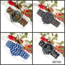 WAT1651 2015 aliexpress hot strip elastic strap drill female Korean printed flower watch