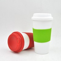 Food grade travel mug with push lid , disposable plastic coffee cups 350 ml /450 ml
