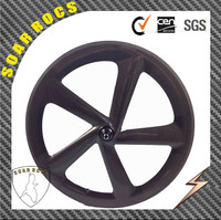 2015 SoarRocs 700c carbon road bike 65mm clincher wheel with disc brake hub 3K matte/glossy finish 5 spokes bicycle wheel