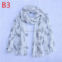 polyester and cotton hot selling Cashew nuts printed lady fashion scarf