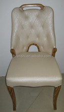 Newest Style Solid Hard Wood Dining Chair/ Wooden Fancy Hand Carved Button White PU Dining Chair S320