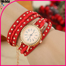 Around Square Spikes Leather Watch Classic Style Punk Wrap Quartz Watch
