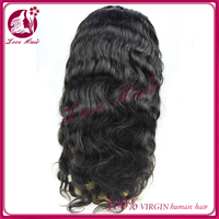 super quality glee full lace wig for sale joviality body wave with baby hair dark black color and free parting