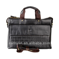 Best quality+100% real cow leather briefcase men messenger bags Brown