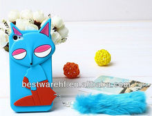 The pretty silicone cover case /bag /cell phone holder with fox shape for iphone4/iphone5