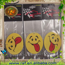 smile face shape hanging paper car air freshener for garderobe, hotel, toilet and room
