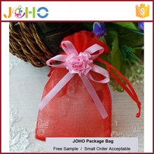 Wholesale Popular Design Cheap Custom Beautiful Small Organza Jewelry Bag with Flower Bow