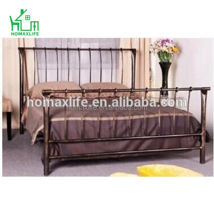 Moderne élégant en métal lit conceptions double reine roi taille antique brossé peinture double lit pour la maison meubles