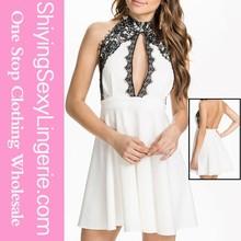 ucuz toptan beyaz şifon dantel salıncak moda Kore bayan dantel elbise