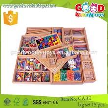 Neues produkt großhandel holzspielzeug oem Gabe großen mengen 15 stück kinder pädagogisches bunte lustige spielzeug-sets