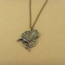 the hunger games unisex Big Retro Punk bird pendants necklaces 291