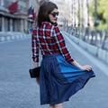 Veri Gude venta al por mayor marca de propiedad 2015 summer últimas falda de mezclilla larga de mezclilla faldas plisadas