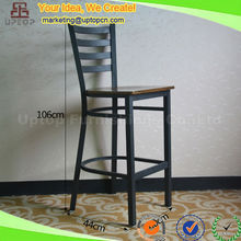(SP-LC286) Black wooden seat bistro rustic vintage metal bar stool