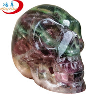 Promotional Gifts realistic crystal skull/ gemstone carving fluorite