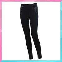 2015 fashion high waist slim skinny pants with PU design