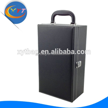 Factory/Manufacturer of 2015 hot sale fashional high quality black bottle single faux case PU leather wine carrier /box/case