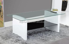 2 layers cheap glass coffee table design