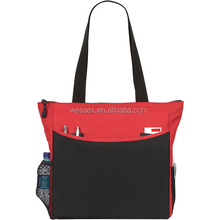 Polyester Carry-all-Tote Bag Oxford Lady Tote Bag Pen Business Cards Pockets Two-Tone Shoulder Bag