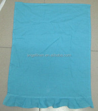 popular linen tea towel in blue color with an extra ruffle in 5cm