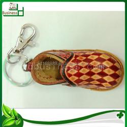 animal shaped genuine leather running shoe keychain