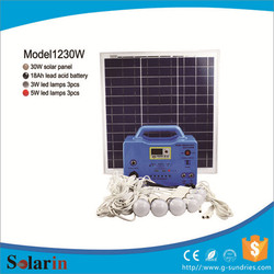 Moderate cost charging function for led light 30w portable solar system